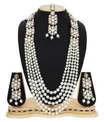 pearl necklace wedding jewellery images Aadita white kundan pearls necklace with maang tikka wedding long jpg