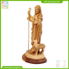 zaks jerusalem gifts olive wood figure jesus the good shepherd