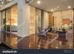 wooden deck balcony night furniture open stock photo 535657708