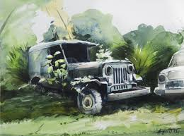 jeep painting canvas tribute to husain u0027s satyajit ray by artist agnimitra das u2013 pop art