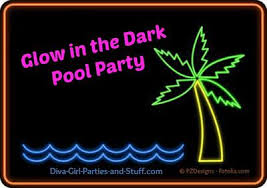 glow in the party supplies in the neon pool party