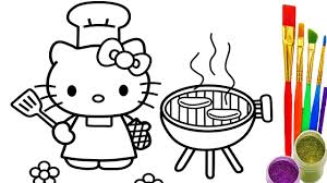 hello kitty coloring pages how to draw kitty bbq party videos