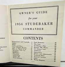 studebaker v8 commander owners manual guide export market original