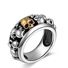 man silver rings images Metjakt handmade men 39 s punk gold skull rings solid s925 sterling jpg
