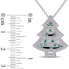 sterling silver emerald sapphire diamond christmas tree pendant