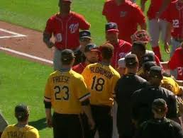 benches clear after nats u0027 cole throws behind pirates u0027 kang