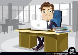 clipart bureau homme d affaires travaillant au bureau avec ordinateur portable