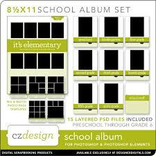 school photo album school album layered template set 8 5 x 11 cathy zielske pse