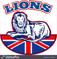 flags lion sitting on fours with british great britain union jack