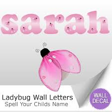name wall letters alphabet stickers initial decals girls decor ladybug name wall letter stickers