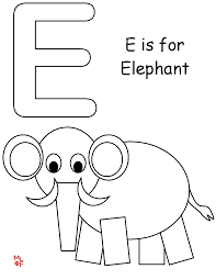 muck monsters letter e e is for elephant colouring page
