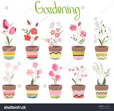 Cute Flower Pots by Cute Striped Flower Pots Isolated On Stock Vector 412084831