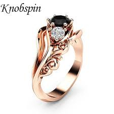 rose zircon rings images European pop women jewelry flower black zircon ring bijoux femme jpg