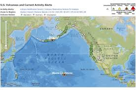 interactive color united states map interactive map of volcanoes and current volcanic activity alerts