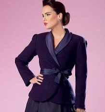 cute jacket pattern fitted lined wrap jacket or coat has collar shoulder pads tie
