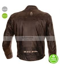 leather racing jacket richa retro racing vintage brown motorcycle jacket
