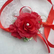 Red Rose Corsage Aliexpress Com Buy Artificial Silk Rose Wrist Flower Corsage For