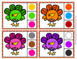 Thanksgiving Turkey Colors Thanksgiving Turkey Color Match Clip Cards And Memory By Pink