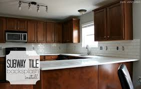 how to put up tile backsplash in kitchen duo ventures kitchen makeover subway tile backsplash installation