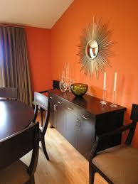 Dining Room Color Orange Design Ideas Gold Sunburst Mirror Orange Walls And