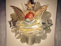 vintage spun glass angel tree topper national tinsel co new in