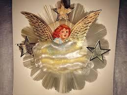 dresden die cut spun glass angel vtg tree topper national tinsel