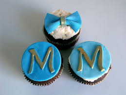 monogram cupcake toppers monogram fondant cupcake toppers in blue and gold and bow tie