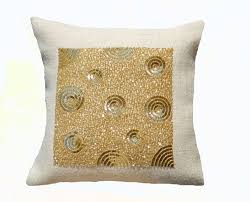 ivory burlap throw pillow burlap gold sequin decorative cushion