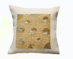 Burlap Decorative Pillows Ivory Burlap Throw Pillow Burlap Gold Sequin Decorative Cushion