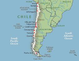chile physical map santiago map