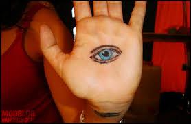 lovely blue eye on palm tattooshunt com