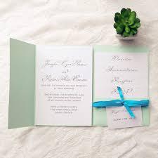 Affordable Pocket Wedding Invitations Affordable Simple Mint Green Pocket Wedding Invitations Ewpi125 As