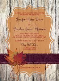 autumn wedding invitation faux wood leaves burlap and twine bow