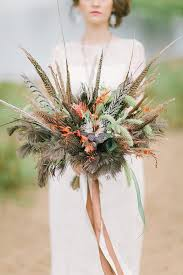 feather flower 18 unique rustic feather wedding bouquets