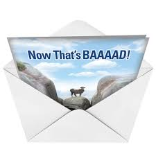 baaaad luck mountain goat photos get well paper card nobleworks