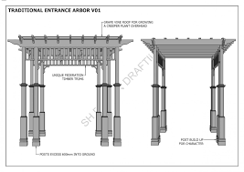 grape vine entrance arbor front gate entrance v1 full building