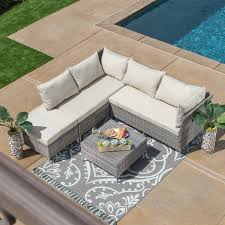 Wicker Patio Conversation Sets Corvus Bellanger 4 Piece Grey Wicker Patio Furniture Set Free