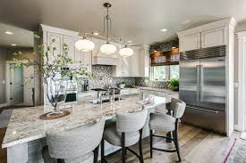 kitchen island bar stools pictures ideas tips from hgtv transitional kitchen with cream cabinets large island