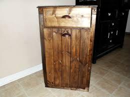 13 gallon tilt out wood trash can holder with drawer trash