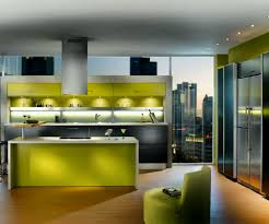 built in kitchen designs green painted island with wooden top double built in oven wood