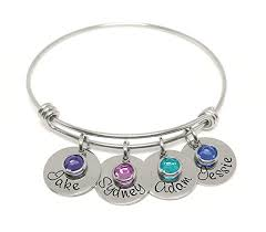 custom birthstone bracelets a personalized adjustable charm bangle bracelet name