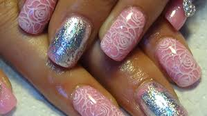 pink shimmer acrylic nails with foil u0026 stamping naio product