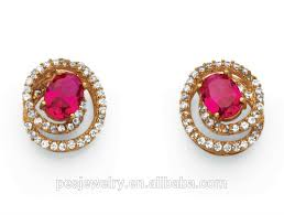gold earring studs designs created ruby swirl design gold plated stud earrings for girl
