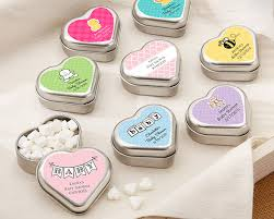 personalized favors mint for you brushed metal heart shaped mint tin baby