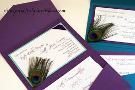 peacock wedding invitations sle custom corner peacock feather pocket folder wedding