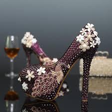 Peacock High Heels Bridal Wedding Shoes High Heel Shoes Peacock Rhinestone Sparkling