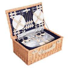 4 person willow picnic basket hamper gift set blanket wine glasses