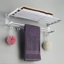 mylifeunit wall mount towel rack bathroom shelf aluminum double