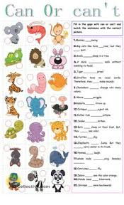 can or can t free esl worksheets enkku pinterest