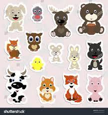 set childrens stickers cute animals cartoon stock vector 560409349